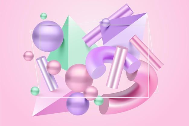 Antigravity geometrische vormen in 3d-effect Premium Vector