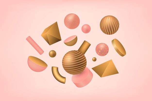 Antigravity geometrische vormen in 3d-effect Gratis Vector