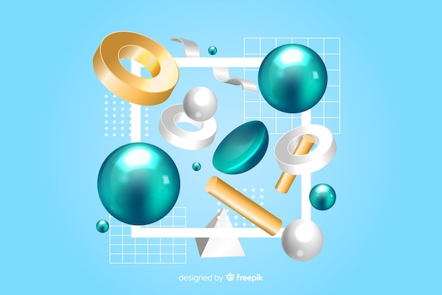 Antigravity geometrische vormen met 3d effect Gratis Vector