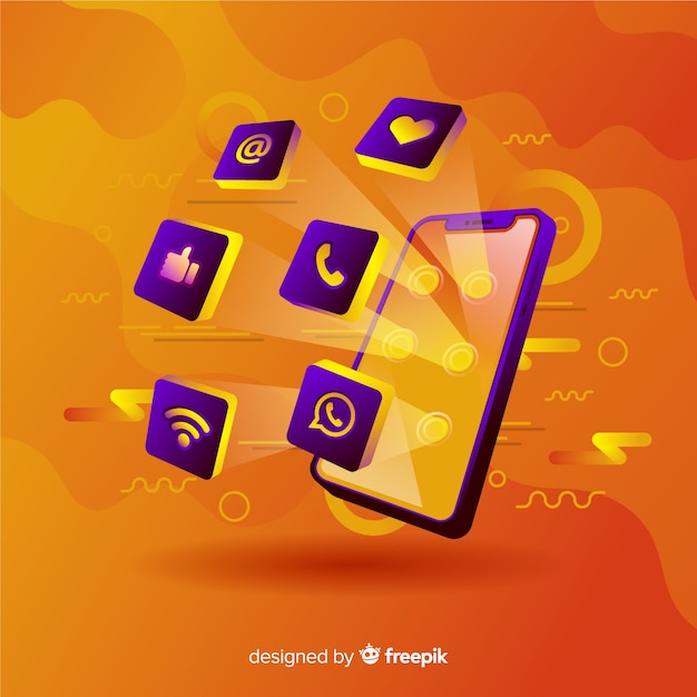 Antigravity levendige mobiele telefoon met elementen Gratis Vector