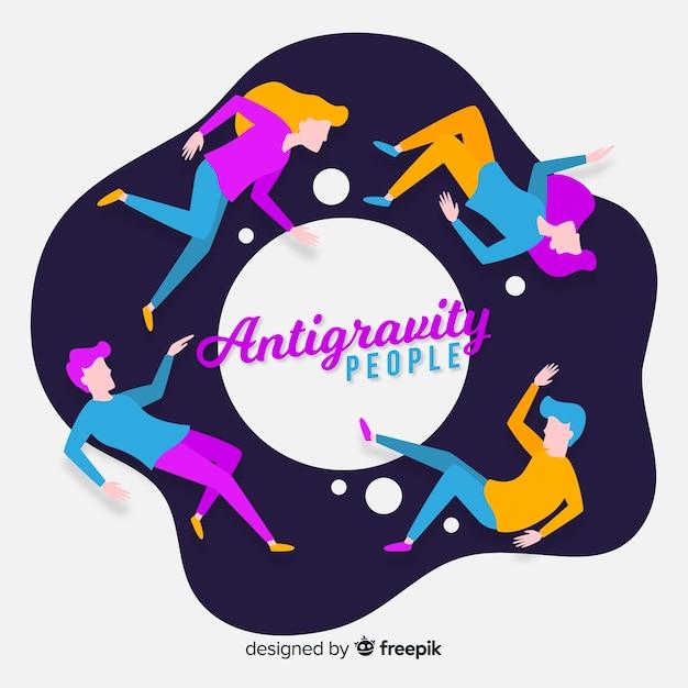 Antigravity mensen achtergrond Gratis Vector