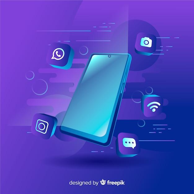 Antigravity mobiele telefoon met elementen rond Gratis Vector