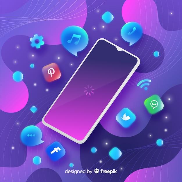 Antigravity mobiele telefoon met elementen Gratis Vector