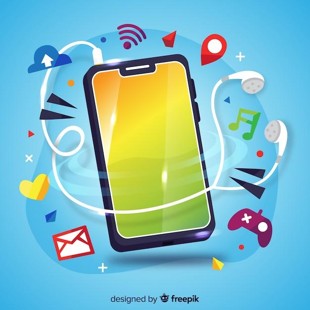 Antigravity mobiele telefoon met sociale media-elementen Gratis Vector
