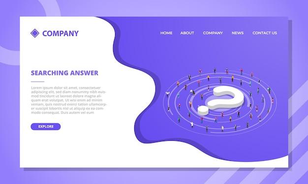 Antwoordconcept zoeken voor websitesjabloon of startpagina-ontwerp met isometrische stijl Gratis Vector