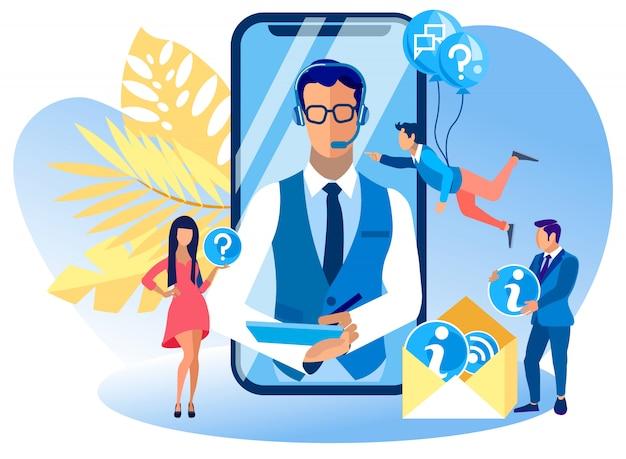 Antwoorden op vragen consultatie callcenter. Premium Vector