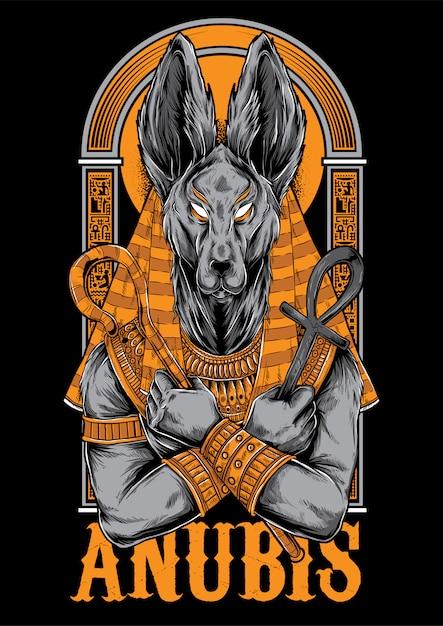 Anubis illustratie mascotte ontwerp Premium Vector