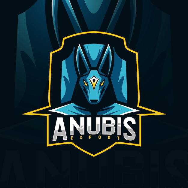 Anubis mascotte logo esport sjablonen Premium Vector