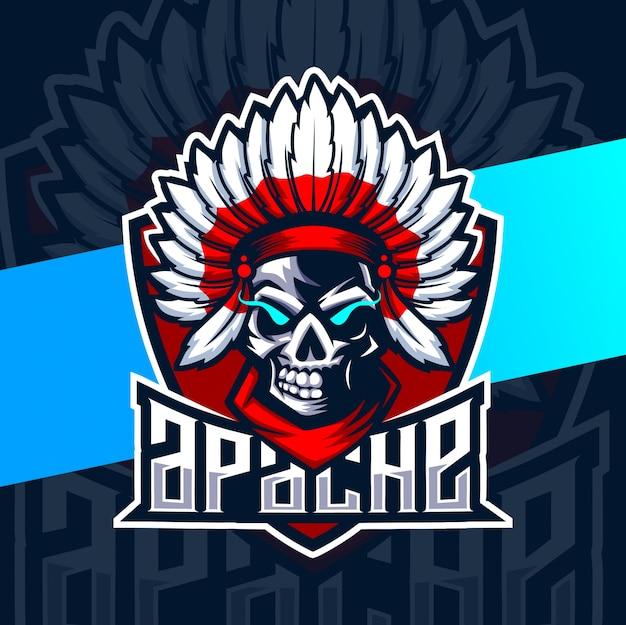 Apache schedel mascotte esport logo Premium Vector