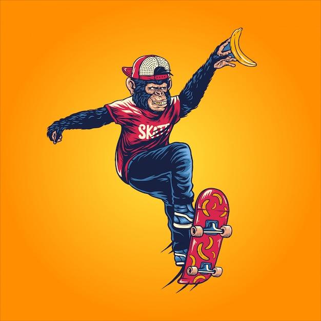 Apen skater Premium Vector
