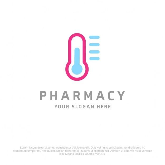Apotheek thermometer logo Gratis Vector
