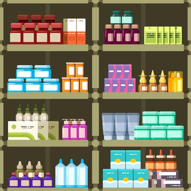 Apotheekplanken met pillen en drugs geneeskunde vakken naadloze patroon Premium Vector