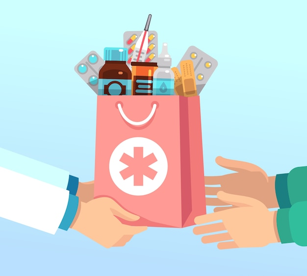 Apotheker geeft zak met antibiotica volgens recept aan handen van patiënt. apotheek vector concept Premium Vector