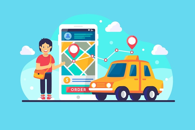 App-concept voor taxi Gratis Vector