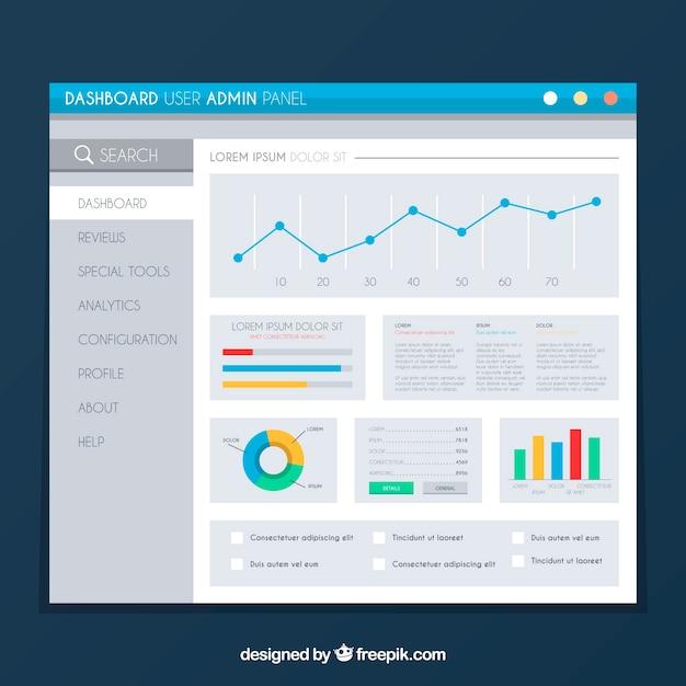 App-dashboardsjabloon met plat ontwerp Gratis Vector