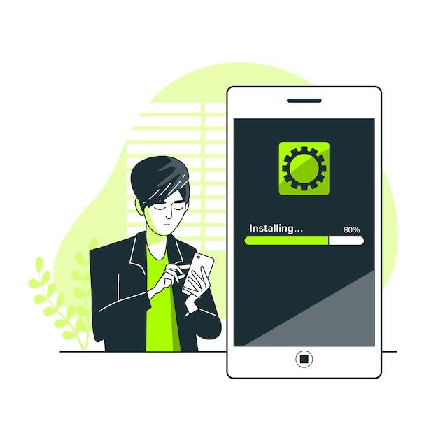 App installatie concept illustratie Gratis Vector