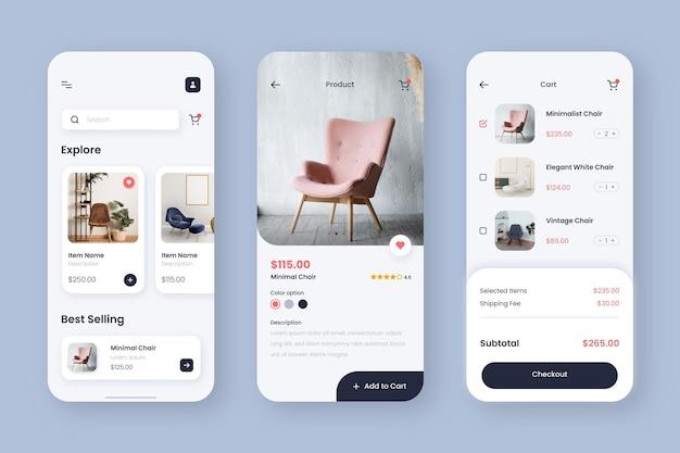 App-interface voor meubelwinkels Gratis Vector