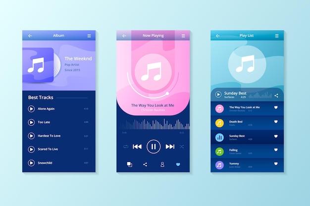 App-interface voor muziekspeler Gratis Vector
