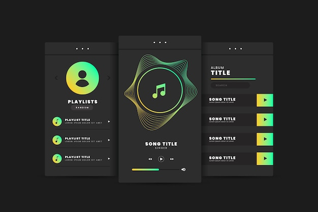 App-interface voor muziekspeler Premium Vector