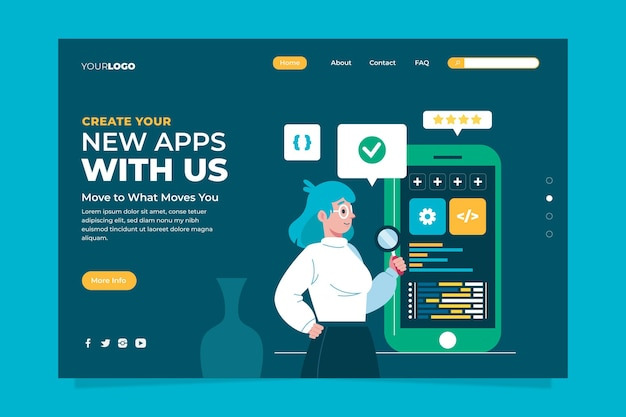 App-ontwikkeling - bestemmingspagina Gratis Vector