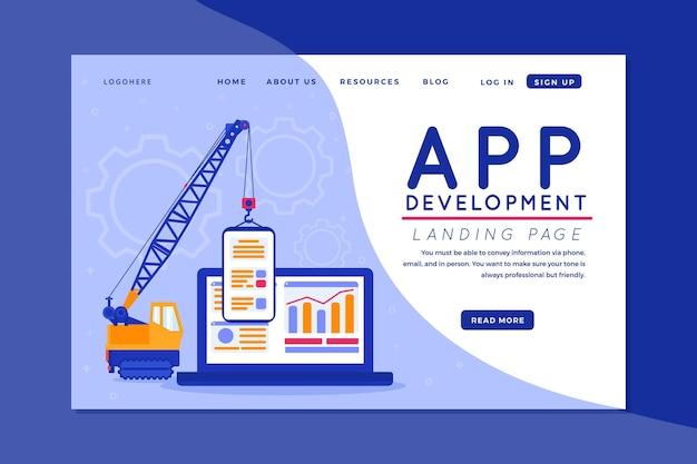 App-ontwikkeling - bestemmingspagina Premium Vector