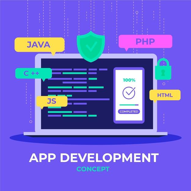 App ontwikkeling illustratie Gratis Vector