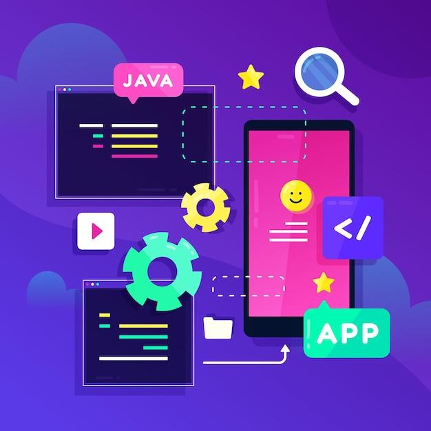 App ontwikkeling illustratie Premium Vector