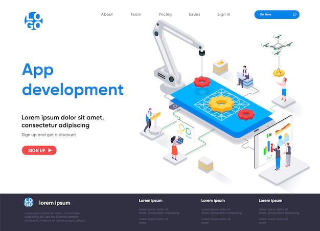 App-ontwikkeling isometrische bestemmingspagina-sjabloon Premium Vector