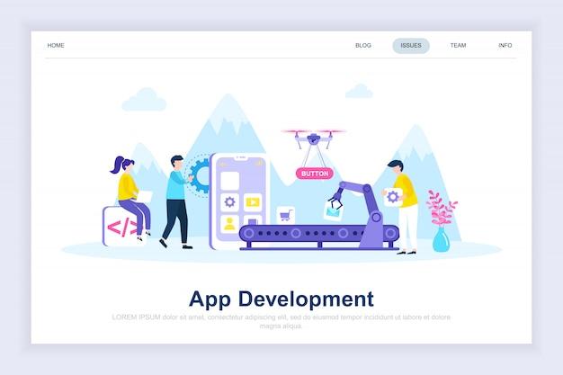App-ontwikkeling moderne platte bestemmingspagina Premium Vector