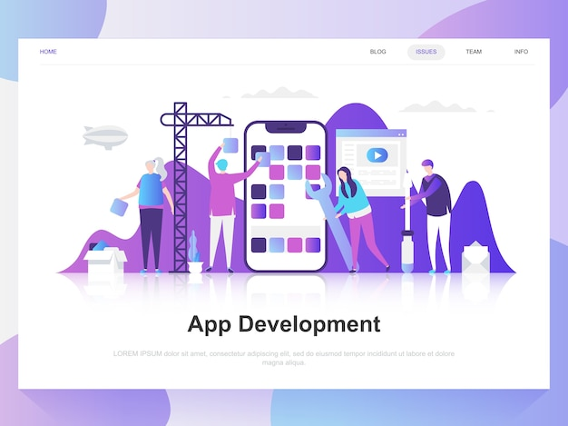 App ontwikkeling moderne platte ontwerpconcept. Premium Vector
