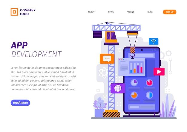 App-ontwikkeling op bestemmingspagina-sjabloon voor smartphones Premium Vector