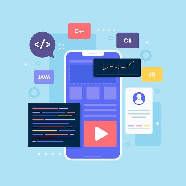 App-ontwikkeling op smartphone geïllustreerd Premium Vector