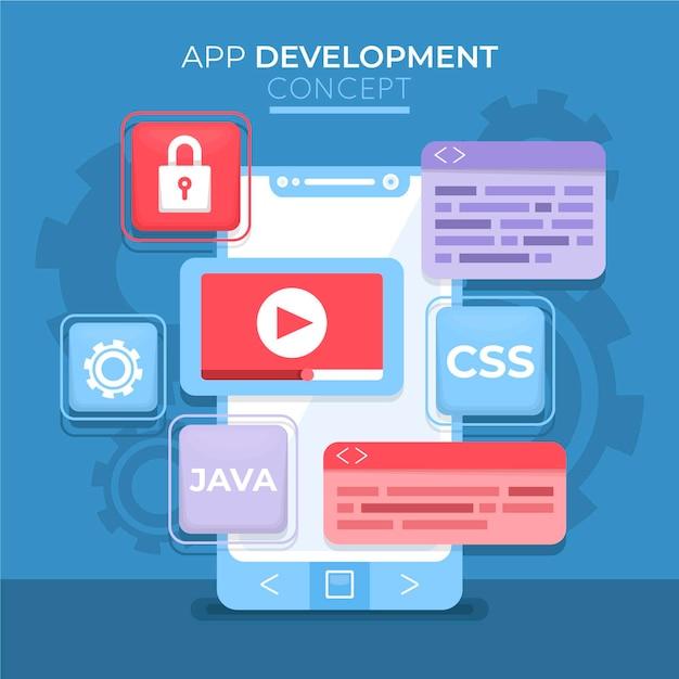 App-ontwikkeling tech-sjabloon Premium Vector