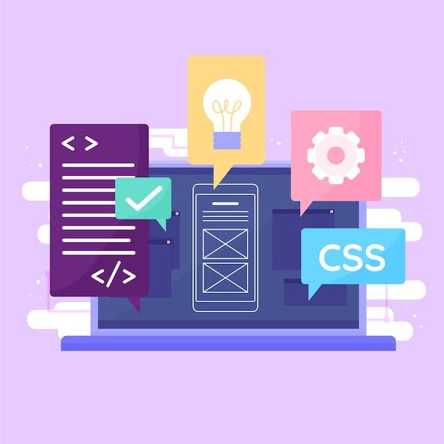 App ontwikkelingsconcept met laptop Gratis Vector