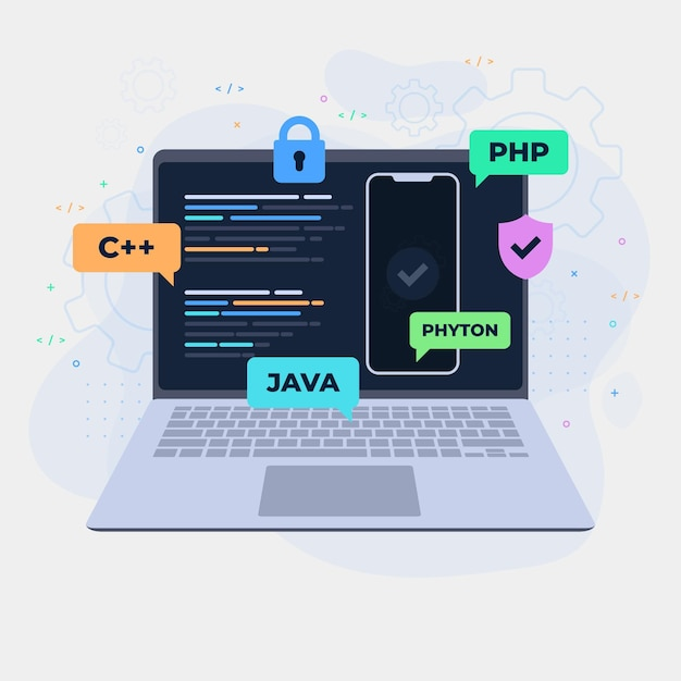 App ontwikkelingsconcept met laptop Premium Vector