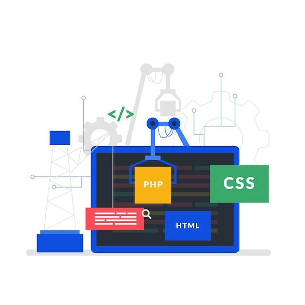 App ontwikkelingsconcept met laptopscherm Premium Vector