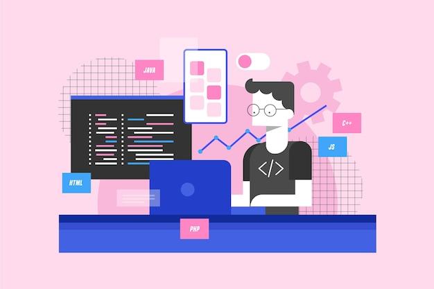 App ontwikkelingsconcept met man en laptop Premium Vector