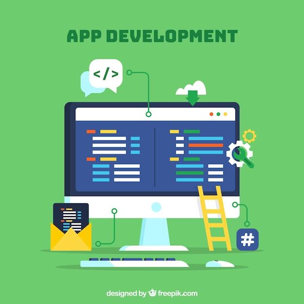 App ontwikkelingsconcept met platte ontwerp Gratis Vector