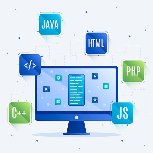 App-ontwikkelingsconcept met programmeertalen en desktop Premium Vector