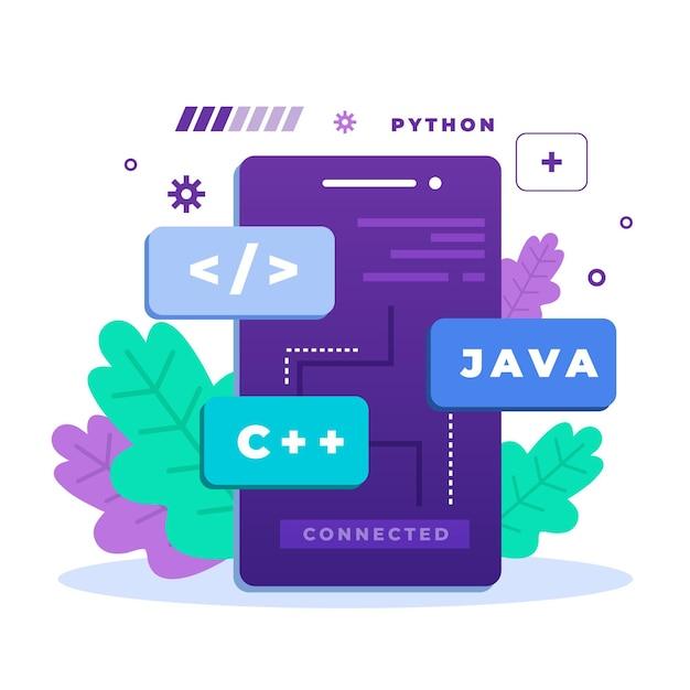 App-ontwikkelingsconcept met programmeertalen Gratis Vector