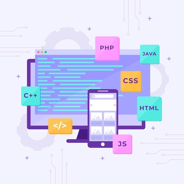 App ontwikkelingsconcept met telefoon en desktop Premium Vector