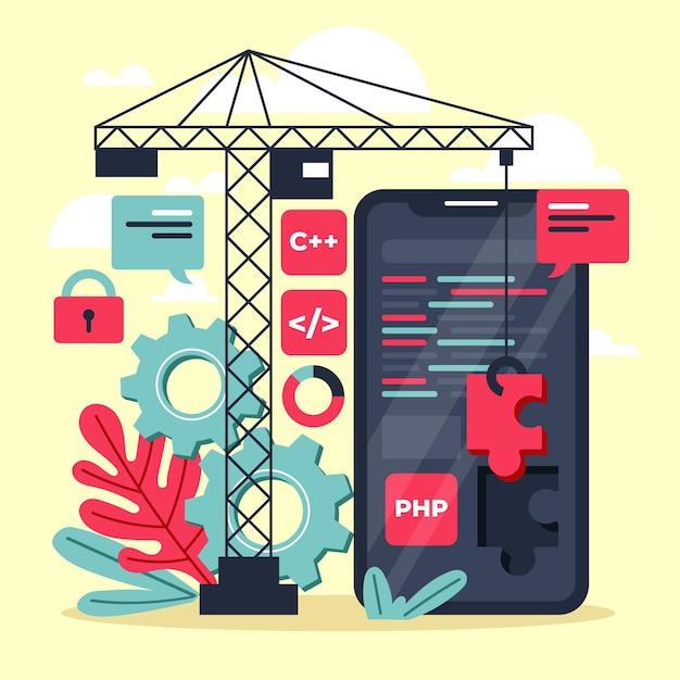 App ontwikkelingsconcept Premium Vector