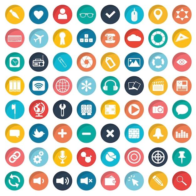 App-pictogram ingesteld voor websites en mobiele apparaten Gratis Vector