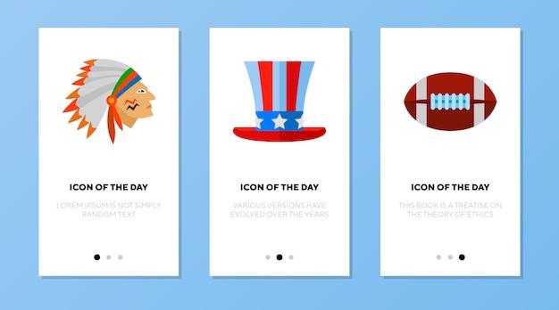 App-scherm ingesteld met amerikaanse symbolen Gratis Vector