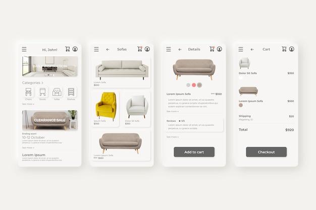 App-schermen voor meubelwinkels Gratis Vector