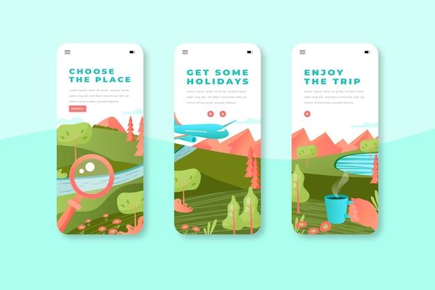 App-schermen voor reizen op mobiele apparaten Gratis Vector