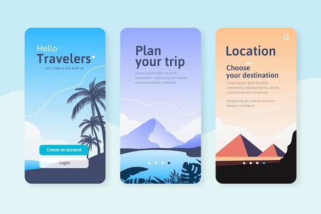 App-schermen voor reizen Gratis Vector