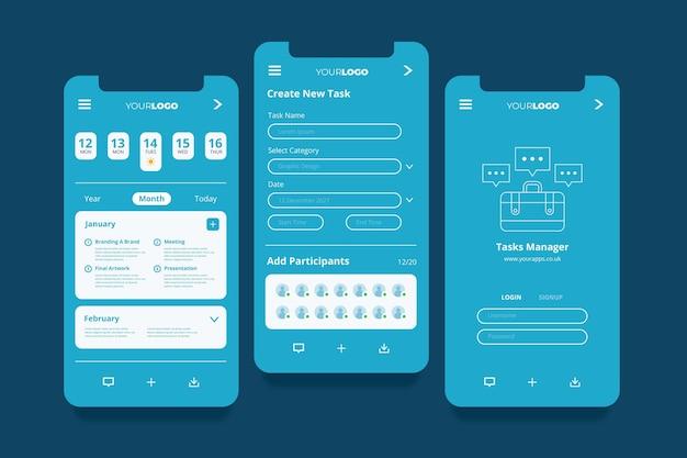 App-schermen voor taakbeheer Gratis Vector