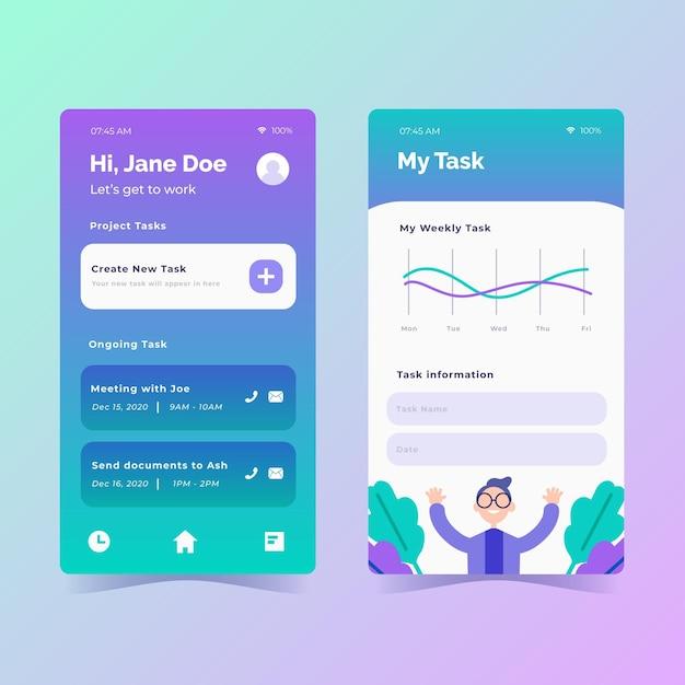 App-set voor taakbeheer in plat ontwerp Gratis Vector