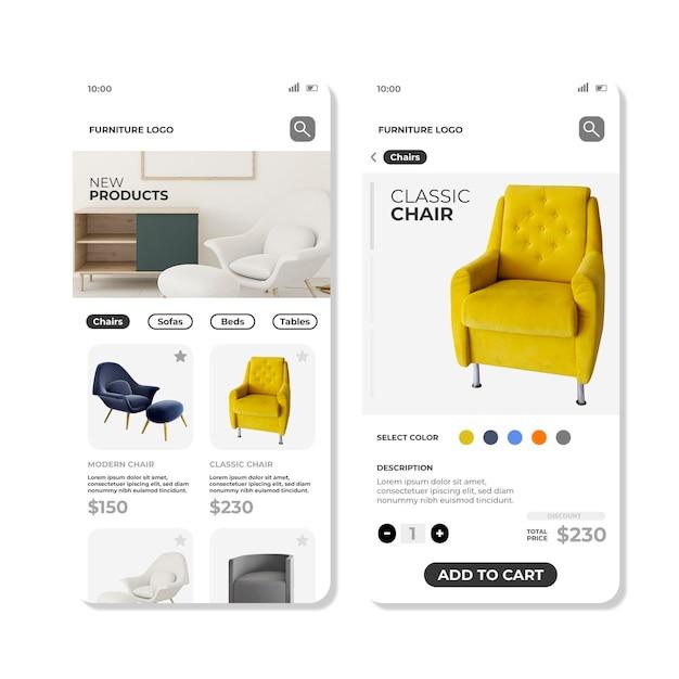App-sjabloon voor meubels winkelen Gratis Vector